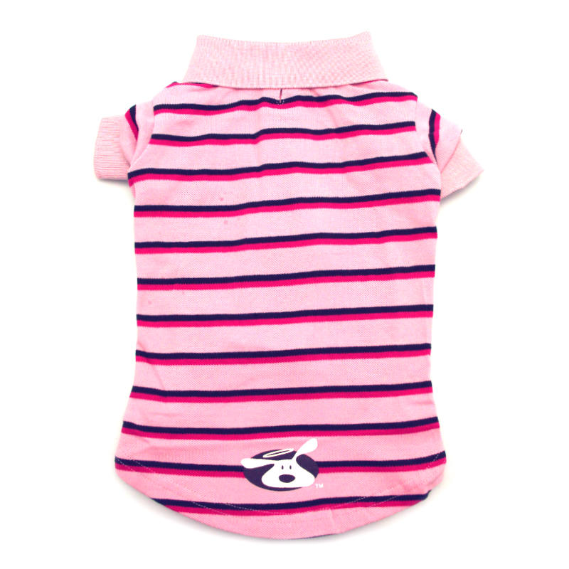 Dog is Good Striped Polo Dog Shirt - Rose Shadow