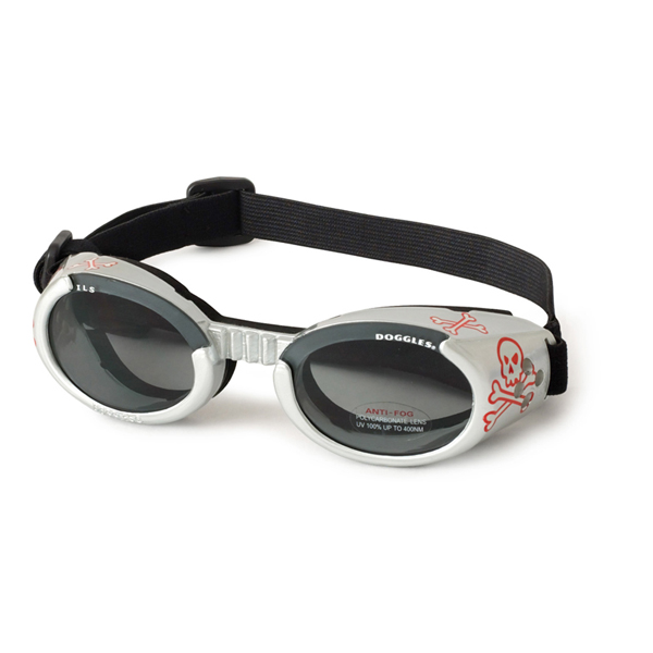 Doggles - Silver Skull Frame with Light Smoke Lens