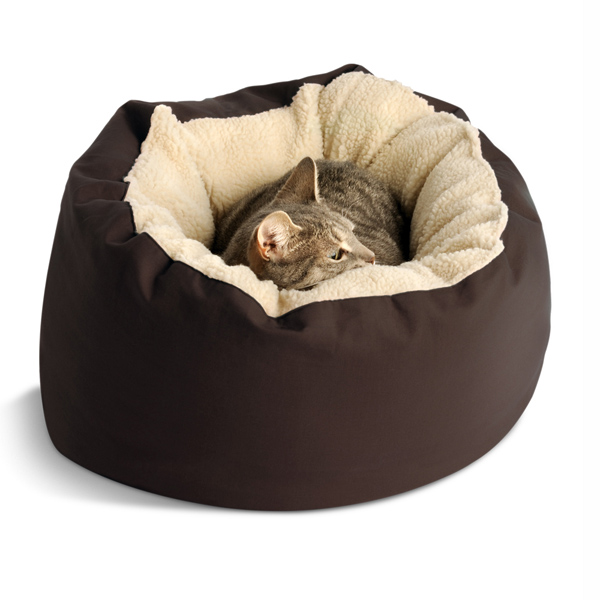 Donut Sherpa Cat Bed by Dog Gone Smart - Brown