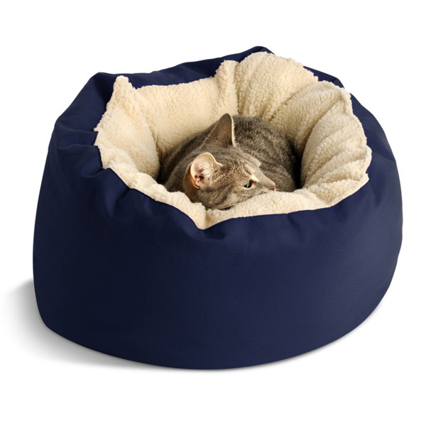 Donut Sherpa Cat Bed by Dog Gone Smart - Navy