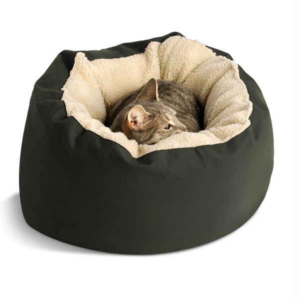 Donut Sherpa Cat Bed by Dog Gone Smart - Olive