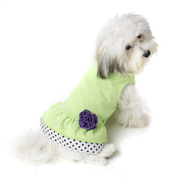 Double Ruffle Knit Dog Dress with Rosette - Lime