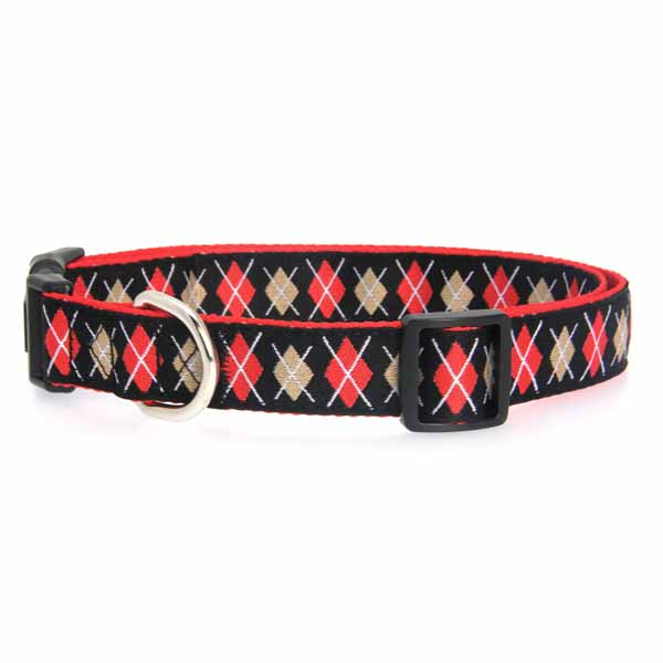 East Side Collection Academy Argyle Dog Collar - Black