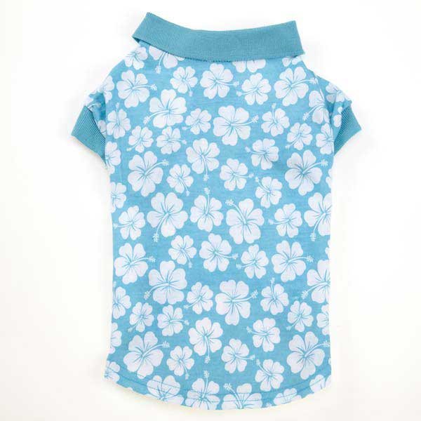 Hibiscus Dog Polo - Blue