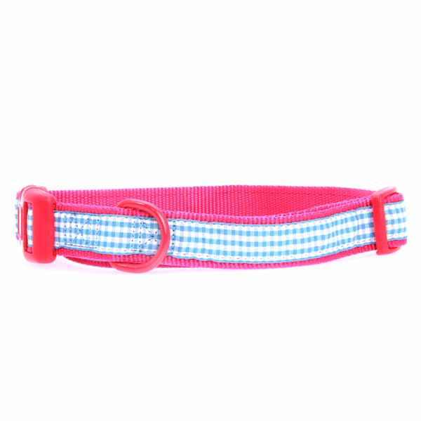 East Side Collection Gingham Sweetie Dog Collar - Raspberry