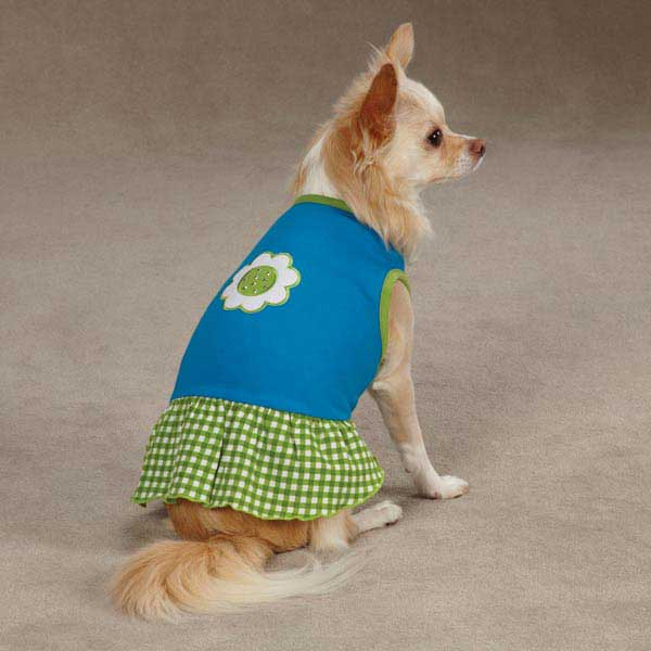 East Side Collection Gingham Sweeties Dog Dress - Blue