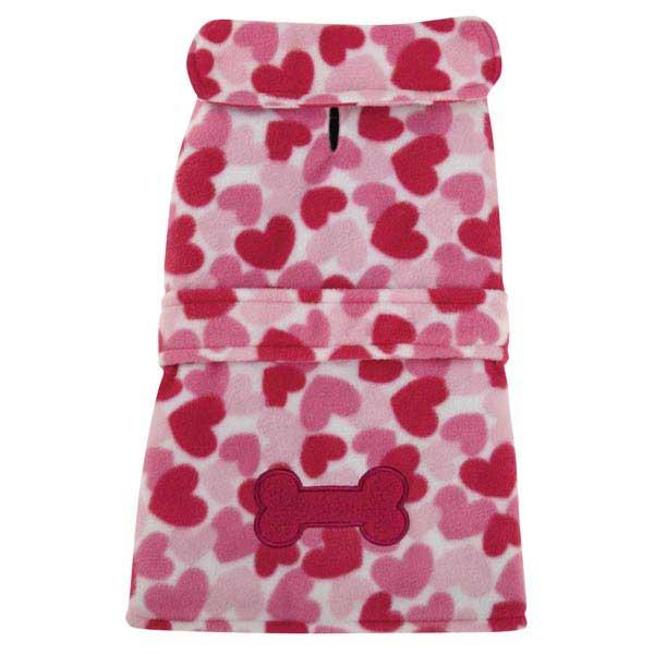 Heart Fleece Dog Jacket - Pink