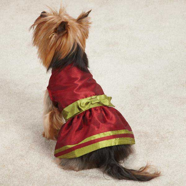 Holiday Shimmer Dog Dress - Red