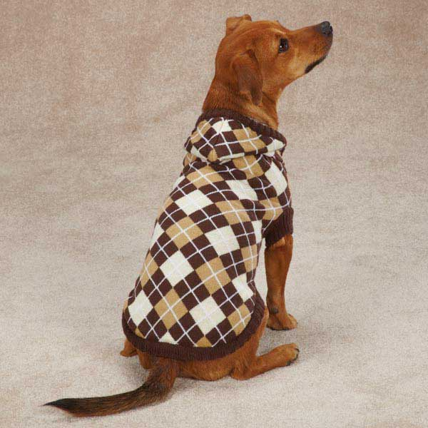 Hooded Argyle Dog Sweater - Chocolate