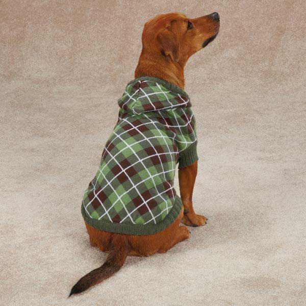 Hooded Argyle Dog Sweater - Forest Green