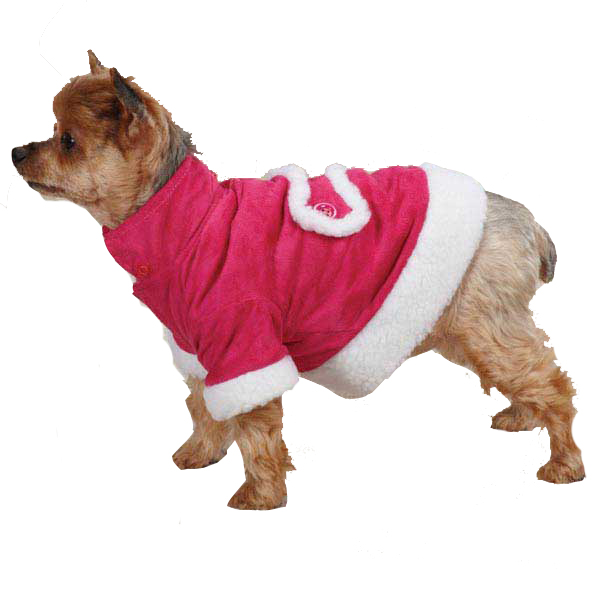 East Side Collection Hooded Sherpa Dog Coat - Raspberry