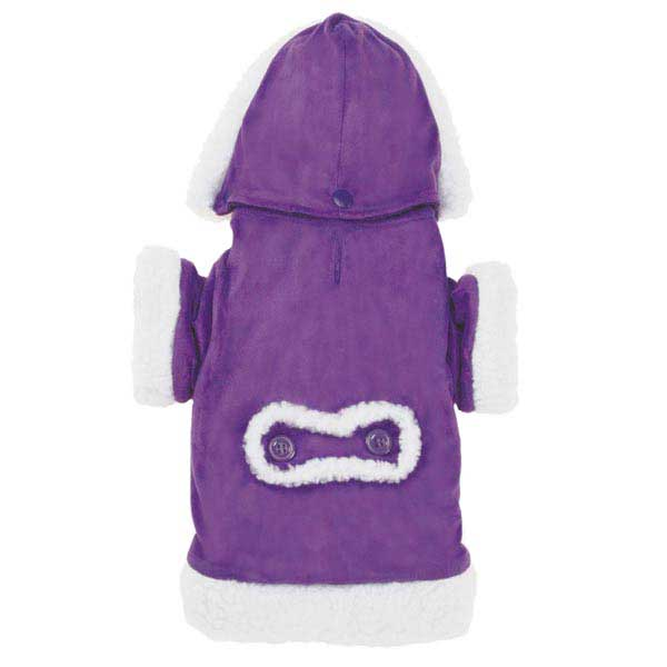 East Side Collection Hooded Sherpa Dog Coat - Ultra Violet