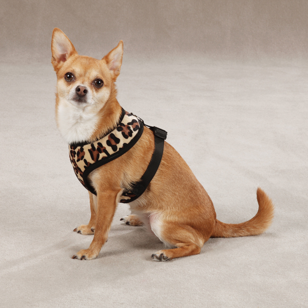 East Side Collection Plush Animal Print Harness - Leopard
