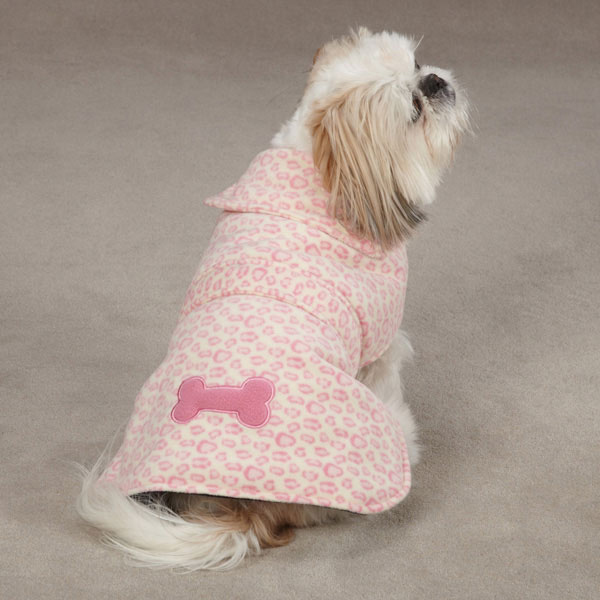 East Side Collection Posh Fleece Dog Jacket - Pink Leopard