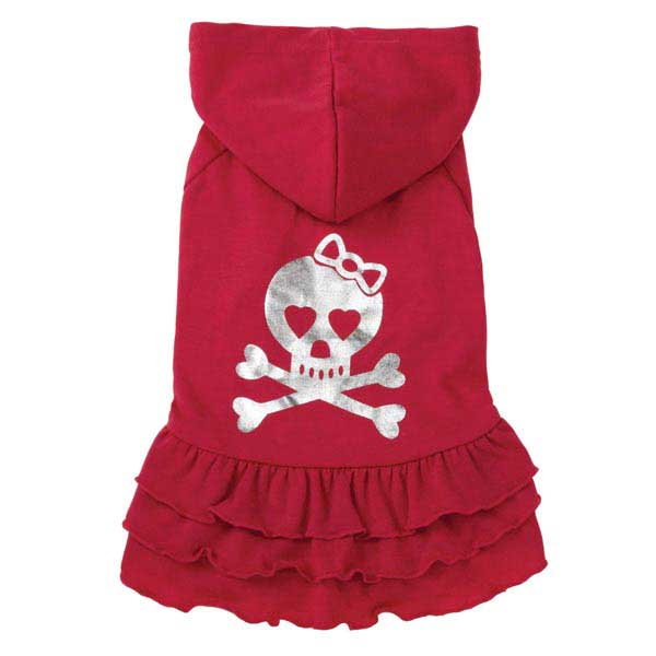 Rock Star Ruffle Hoodie Dog Dress - Skull