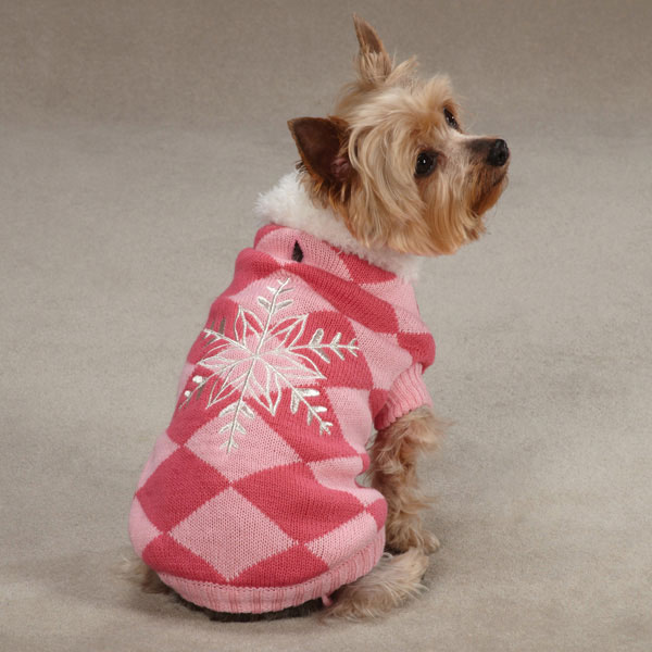 Snowflake Snuggler Dog Sweater - Pink
