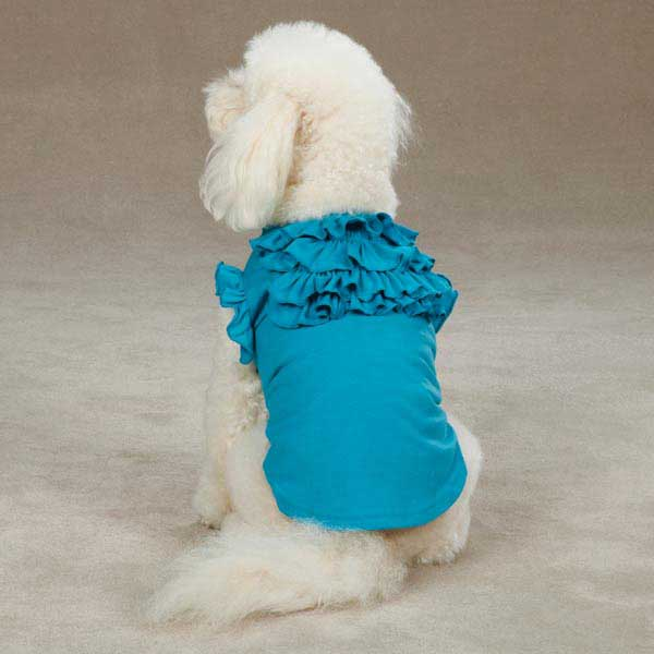 East Side Collection Tiered Ruffle Dog T-Shirt - Bluebird