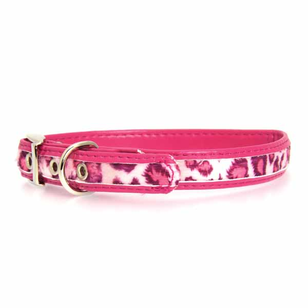 Vibrant Leopard Dog Collar - Raspberry