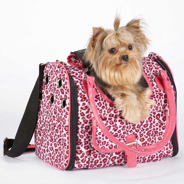 Vibrant Leopard Pet Carrier - Raspberry