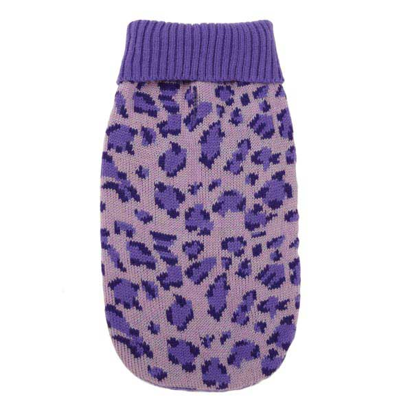 East Side Collection Vibrant Leopard Dog Sweater - Ultra Violet