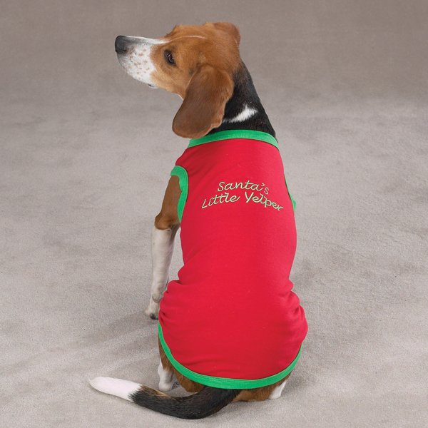 Embroidered Santa Pullover Tee 'Santa's Little Yelper' - Red