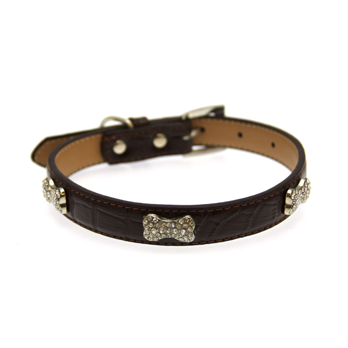 Faux Leather Crystal Bone Dog Collar by Doggie Design - Chocolate Brown