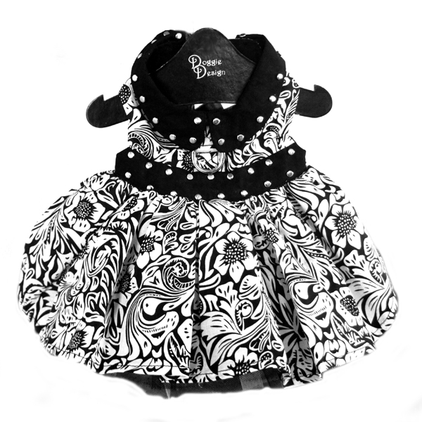 Floral Dog Dress by Doggie Design - Black and White