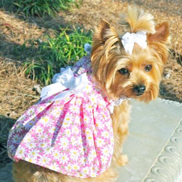 Flower Garden Dog Dress - Pink Daisy