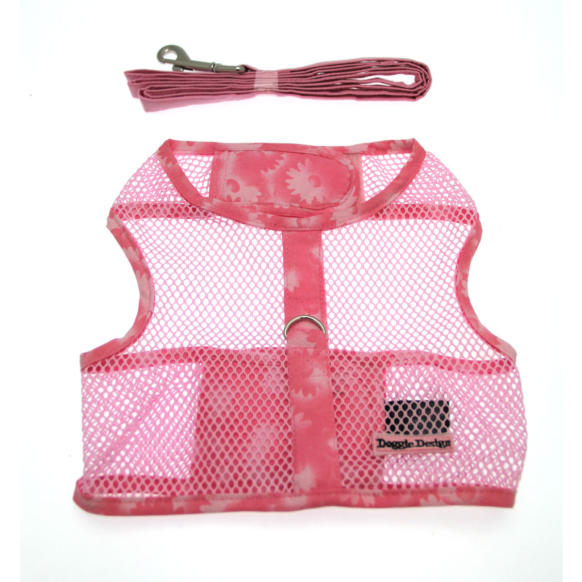 Flower Netted Dog Harness with Leash - Pink
