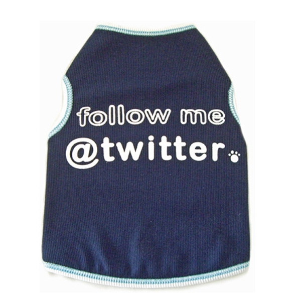 Follow Me @ Twitter Dog Tank Top - Navy