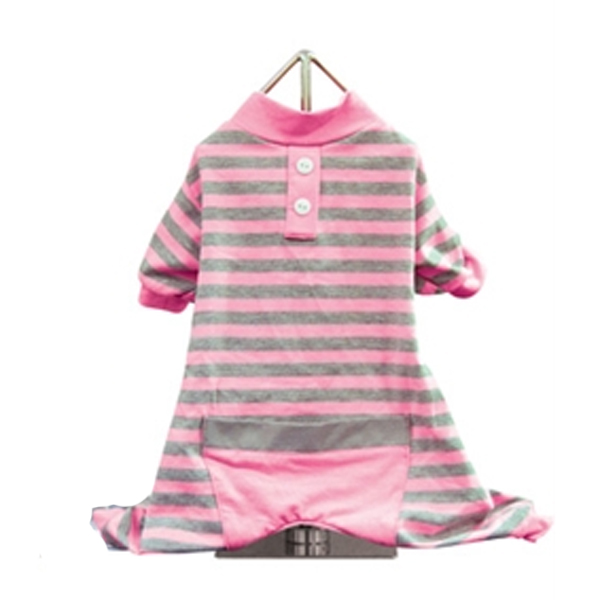 FouFou Classic Striped Dog Pajamas - Pink