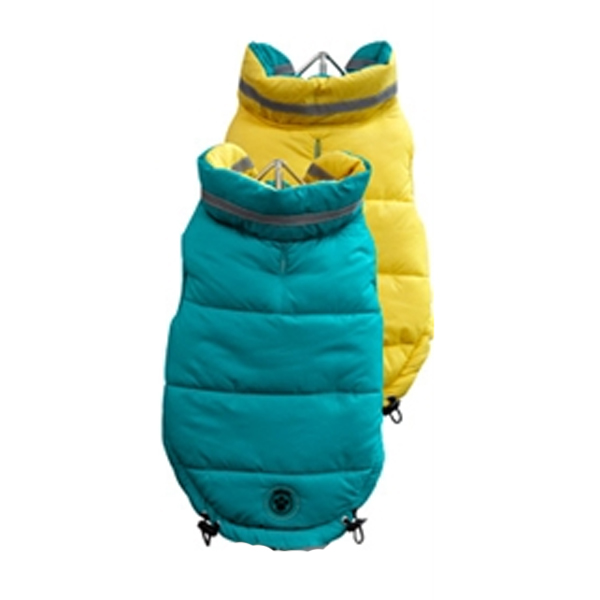 FouSki Reversible Dog Parka - Teal/Yellow