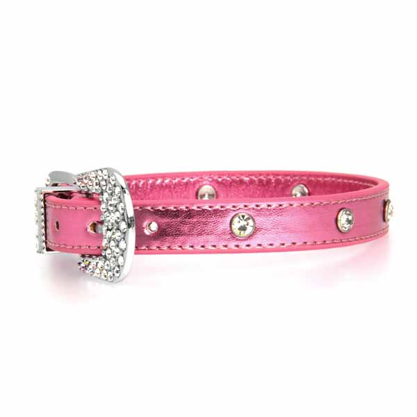 Foxy Jewel Dog Collar - Metallic Pink