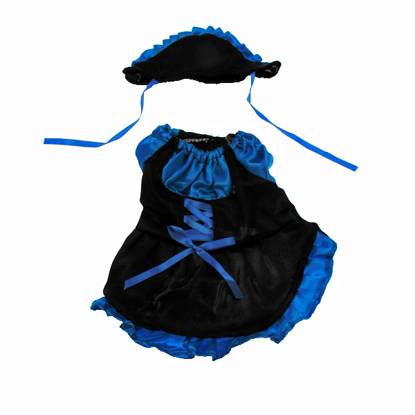French Maid Dog Dress Costume - Blue