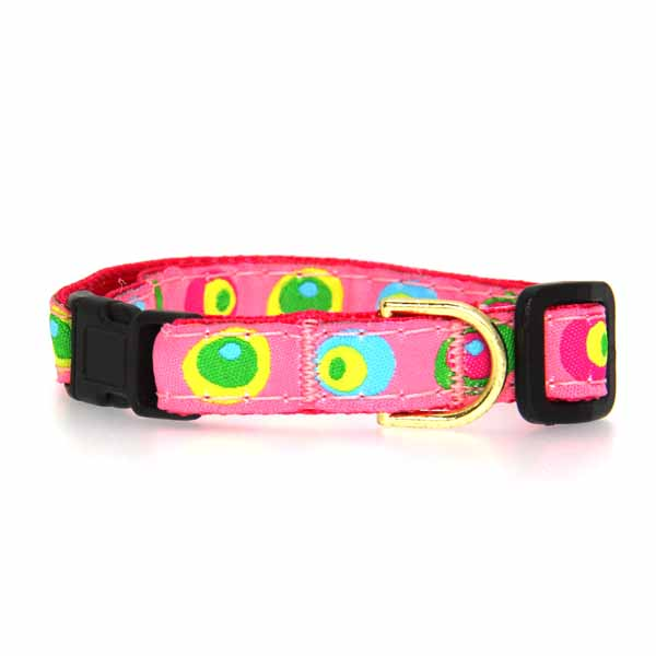 Funky Pink Circles Cat Collar by Up Country