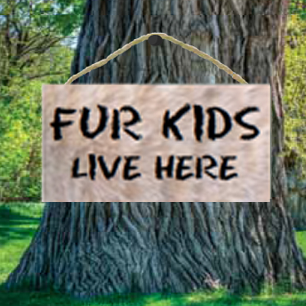 Fur Kids Live Here Wood Sign