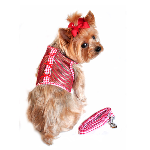 Gingham Cool Mesh Dog Harness by Doggie Design - Red
