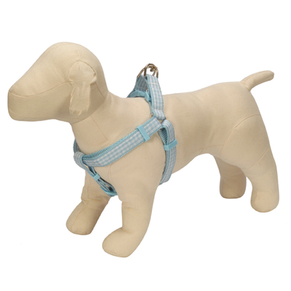 Gingham Ribbon Dog Harness - Blue