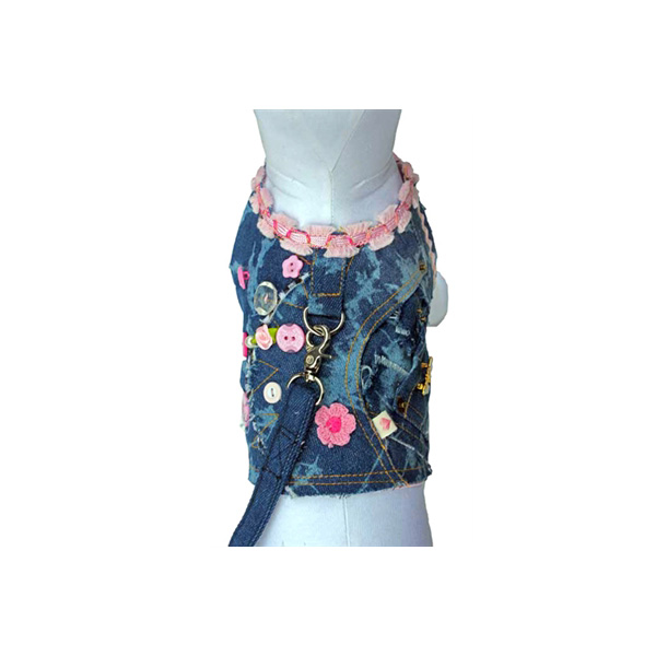 Girlie Girl Denim Dog Vest w/ Leash