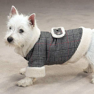 Glen Plaid Sherpa Dog Coat
