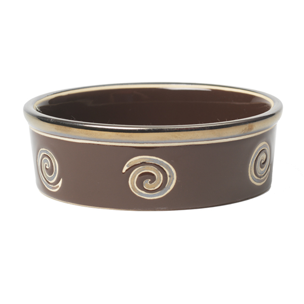 Glitzy Swirls Dog Bowl - Espresso Brown