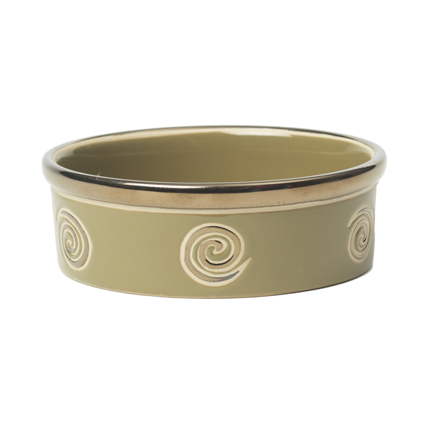 Glitzy Swirls Dog Bowl - Moss Green