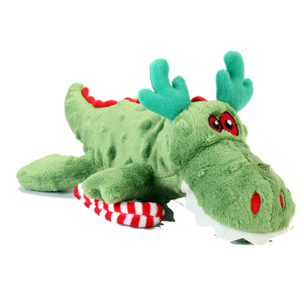 GoDog Holiday Gators Dog Toy - Green