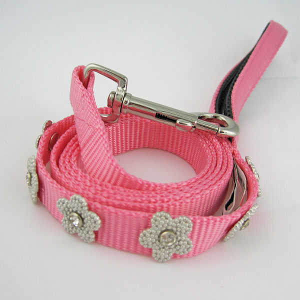 Gracie Silver on Pink Daisy Dog Lead