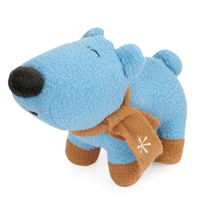 Grriggles Winter Lights Fleece Polar Bears Dog Toy - Blue