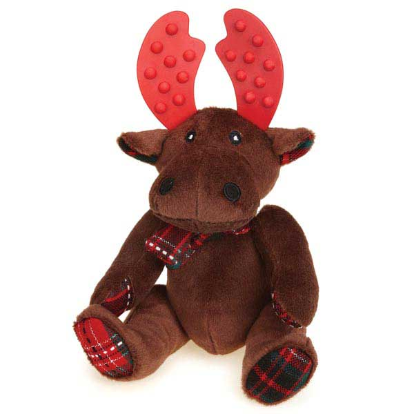 Grriggles Yuletide Tartan Moose Dog Toy - Brown
