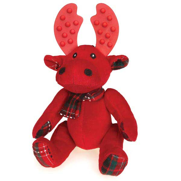 Grriggles Yuletide Tartan Moose Dog Toy - Red