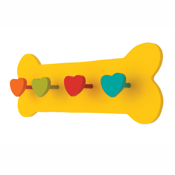 Hand Painted Bone Leash Holder - Yellow