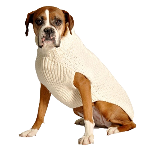 Free Patterns For Knitting Looms : Handmade Cable Knit Wool Dog Sweater - Natural BaxterBoo