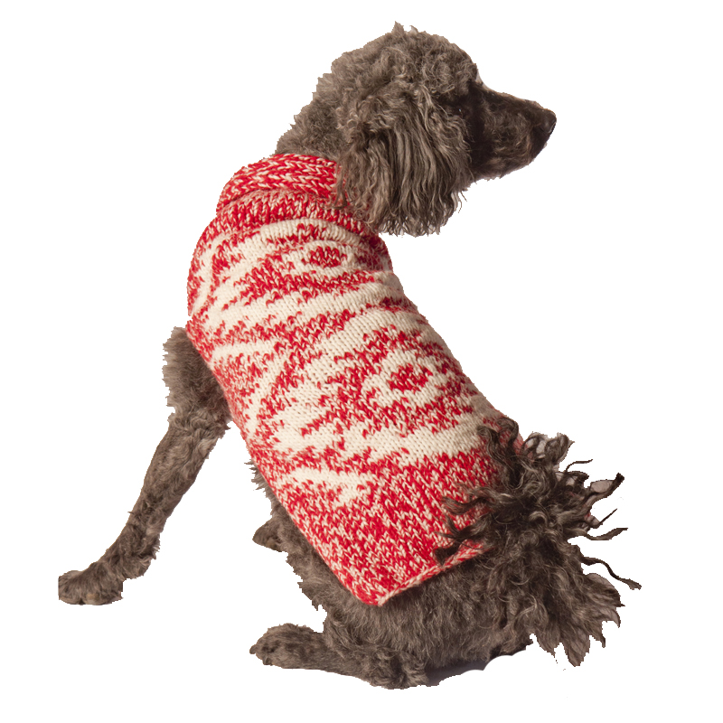 Handmade Red Heather Wool Dog Shawl
